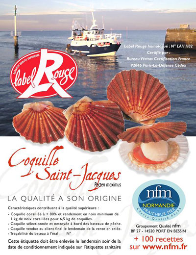Coquille Saint Jacques Normandie Label Rouge Etiquette mareyage
